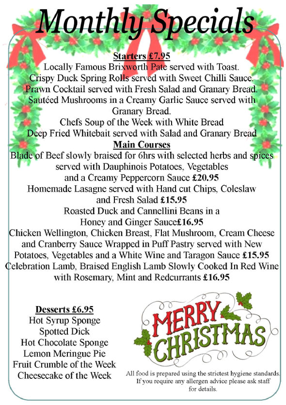 Coach and Horses Brixworth - Monthly Special Menu