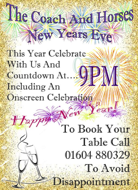 Join the Coach and Horses in Brixworth for New Year's Eve