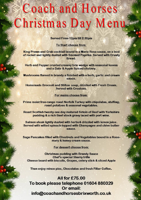 Christmas Day Menu for The Coach and Horses, Brixworth